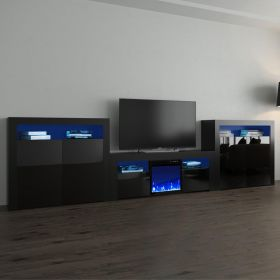 Laha Modern Electric Fireplace Wall Unit Entertainment Center