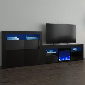 Lahaina Modern Electric Fireplace Wall Unit Entertainment Center