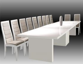 Wyoming Modern Extendable Dining Room Set in White Lacquer