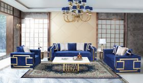 Lawrence Traditional Living Room Set in Blue