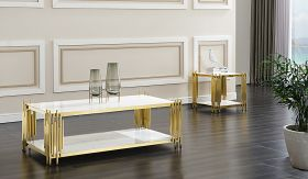 Lawrence and Jaden Traditional Living Room Set in White/Golden