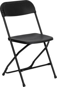 HERCULES Series 800 lb. Capacity Premium Black Plastic Folding Chair [LE-L-3-BK-GG]
