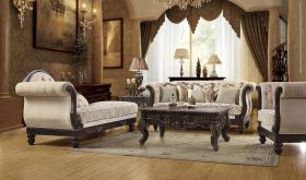 Lecce Traditional Living Room Set in Beige & Brown Mahogany