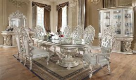 Lemon Traditional Dining Room Set in Metallic Silver