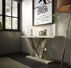 Leon Modern Console Table in High Gloss & Champagne