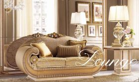 Leonardo Contemporary Living Room Set in Gold & Beige