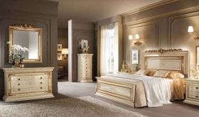 Leonardo Night Bedroom Set in Gold & Beige - Bedroom Set View 1