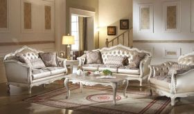 Lewes Traditional Living Room Set in Rose Gold & Pearl White