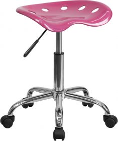 Vibrant Pink Tractor Seat and Chrome Stool [LF-214A-PINK-GG]