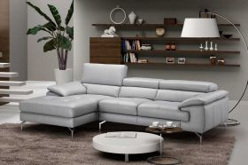 J&M Liam A973B Premium Leather Sectional Sofa in Element Grey with Left Facing Chaise