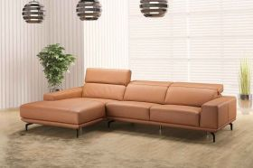 J&M Lima Premium Leather Sectional Sofa in Orange with Left Facing Chaise