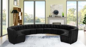Juan Modular Velvet Sectional Sofa in Black