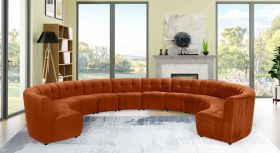 Juan Modular Velvet Sectional Sofa in Cognac