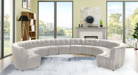 Juan Modular Velvet Sectional Sofa in Cream