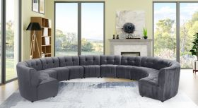 Juan Modular Velvet Sectional Sofa in Grey