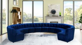 Juan Modular Velvet Sectional Sofa in Navy