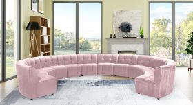 Juan Modular Velvet Sectional Sofa in Pink