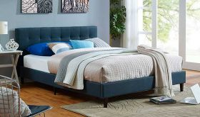 Linnea Modern Fabric Bed in Azure