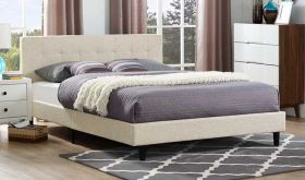 Linnea Modern Fabric Bed in Beige