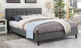 Linnea Modern Fabric Bed in Gray