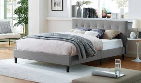 Linnea Modern Fabric Bed in Light Gray