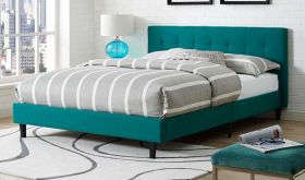 Linnea Modern Fabric Bed in Teal