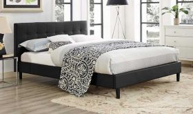 Linnea Modern Faux Leather Full Bed in Black