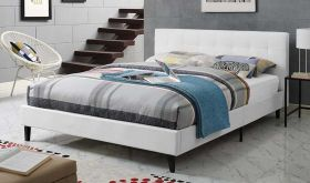 Linnea Modern Faux Leather Full Bed in White