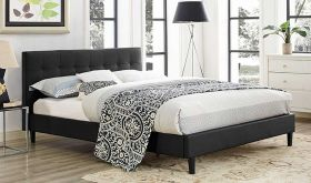 Linnea Modern Vinyl Bed in Black