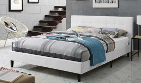 Linnea Modern Vinyl Bed in White