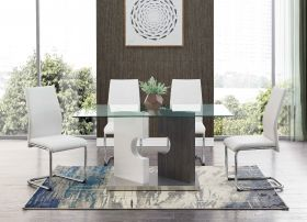 Little Modern Dining Room Set in Gray & White