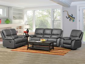 1415 Modern Living Room Set with Manual Recliners in Dark Grey