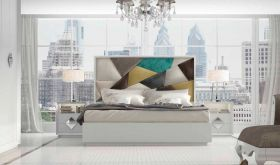 Lockport Modern Bedroom Set in White & Gray