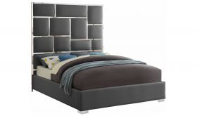 Loma Contemporary Faux Leather Bed in Grey