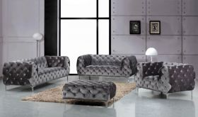 Lone Contemporary Living Room Set in Gray