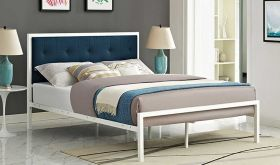 Lottie Fabric King Bed in White Azure