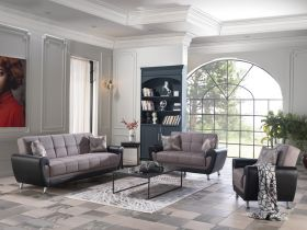 Louisiana Convertible Living Room Set in Remoni Antrasit