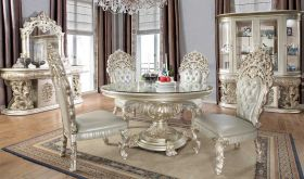 Lummus Traditional Dining Room Set in Metallic Silver