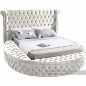 Fresno Contemporary Velvet Bed in Cream