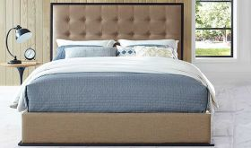 Madeline Modern Upholstered Queen Bed in Cappuccino Café