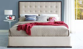 Madeline Modern Upholstered Queen Bed in Cappuccino Ivory