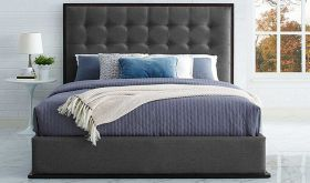 Madeline Modern Upholstered Queen Bed in Cappuccino Smoke