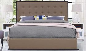 Madeline Modern Vinyl Queen Bed in Cappuccino Brown