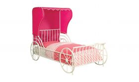 Magical Carriage Youth Novelty Bed in White & Pink