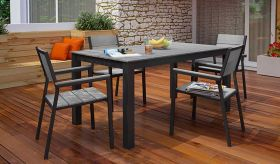 Maine 5 Piece Outdoor Patio Dining Set in Brown Gray