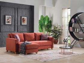 Maine Convertible Sectional Sofa in Valery Burgundy