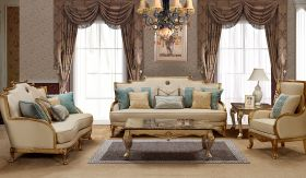Majestic Traditional Living Room Set in Champagne Brown