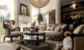 Manatee Traditional Living Room Set in Gold & Smoke