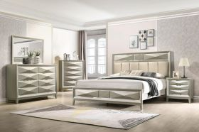 Marble Modern Bedroom Set in Champagne