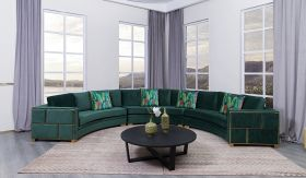 Marco Traditional Sectional Sofa in Dark Green